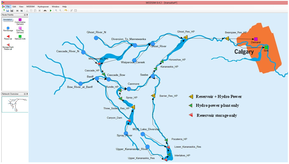 A screenshot of MODSIM-DSS for the headwaters of the Bow River Basin